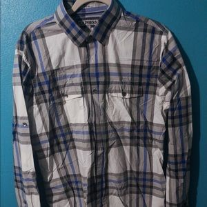🍄 Men's Express Plaid Fitted Shirt